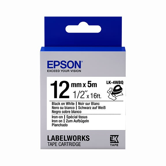 Epson Label Cartridge Iron on LK-4WBQ Black/White 12mm (5m)
