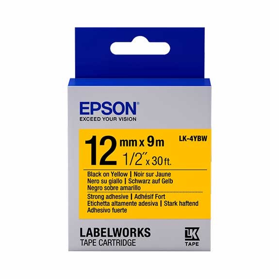Epson LK-4YBW 12mm yellow strong adhesive label tape (9m)